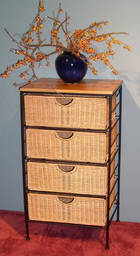 4D Concepts 4 Drawer Wicker & Metal Accent Table
