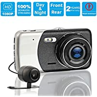 4.0 LCD FHD 1080P 170° Wide Angle Dual Channel Dashboard Camera Recorder/Car Dash Cam with Rear Camera,G-Sensor, Collision Detection,Parking Monitor,and Seamless Loop Recording(8GB SD Card Included)