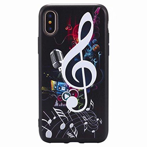 Yiizy Hülle Apple IPhone X / 10 Schale, Musikalische Symbole Ultra Slim Klar Transparent handy taschen Schutzhülle Anti-Kratzer Weich TPU Silikon Cover Flexibel Gummi Haut Bumper Leicht Schutz Kristal