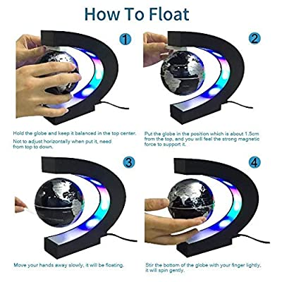 Estefanlo Floating Globe with LED Lights C Shape Magnetic Levitation Floating Globe World Map for Desk Decoration (Black-Silver): Office Products