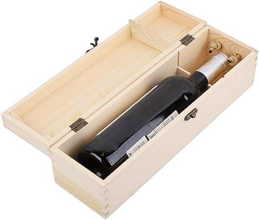 Caja de Vino, Botella Individual Caja de Vino Tinto Caja de Embalaje de Vino de Madera Lleva Soporte de Regalo Estuche de Accesorios de Vino: Amazon.es: Hogar