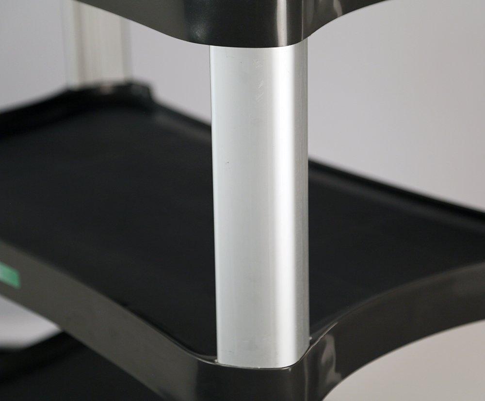 16-3//4X29-1//2 Lakeside 2512 Plastic Utility Cart; 500 Lb Capacity 3 Shelf Charcoal