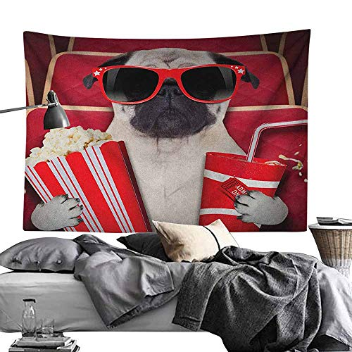 MaureenAustin House Decor Tapestry,Pug,Funny Dog Watching Movie Popcorn Soft Drink and Glasses Animal Photograph Print, Red Cream Ruby Tapestries for Bedroom Living Room Dorm Party Decor70 x90