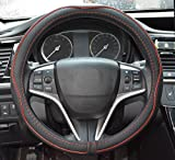 Automotive : Rueesh Microfiber Leather Steering Wheel Cover, Anti-slip Matte Finish, Soft Padding, Universal 15 Inch Car Steering Cover, Embossing Pattern A, Black with Red Line