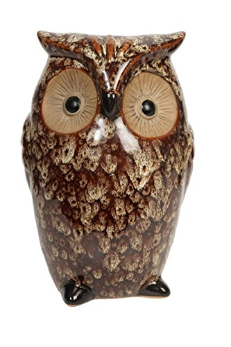 Hosley Ceramic Owl Vase, Ideal Gift for Weddings, House Warming, Home Office, Wonderful Accent Piece for Coffee Tables or Side Tables. P1