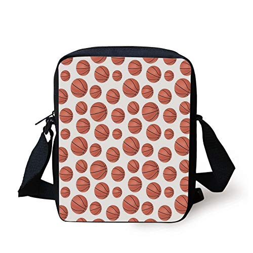 Basketball,Realistic Style Balls Pattern on White Classical Sports Themed Decorative,Pale Cinnamon Black White Print Kids Crossbody Messenger Bag Purse