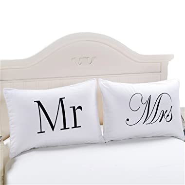 Sleepwish Set of 2 Mr and Mrs Pillow Cases, Anniversary Wedding Gift, Couple Pillowcases His and Hers Personalized Wedding Gift, Romantic Gift Idea for Couples (20 x 36 inch)