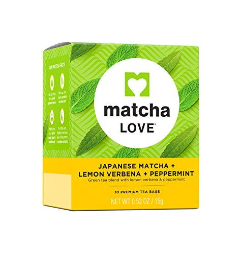 Matcha Love Japanese Matcha Plus Green Tea Premium Bags, Lemon Verbena + Peppermint,10 Teabags (Pack of 10)