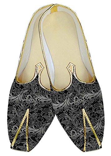 INMONARCH Hombres Boda Zapatos Negro Patrón Floral MJ011203