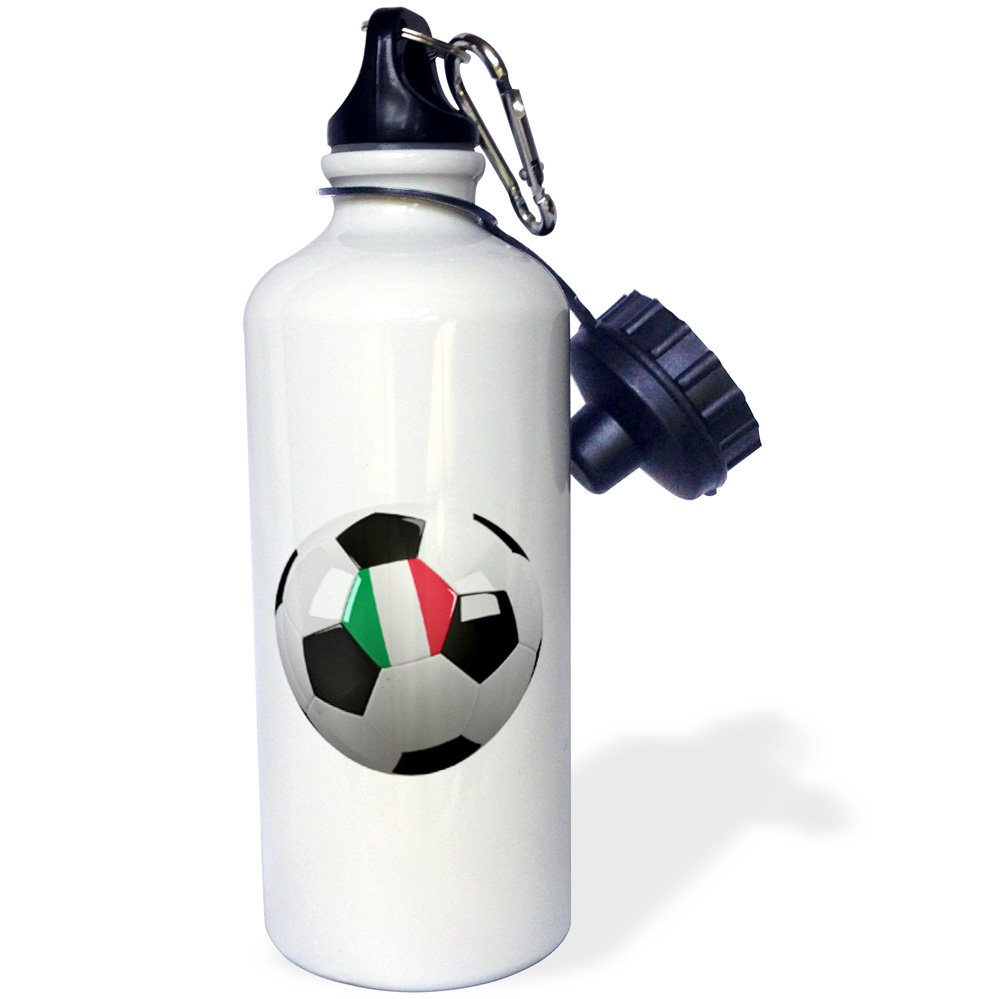 3dRose Soccer Ball with The National Flag of Italy on It Italian Sports Water Bottle, 21 oz, White