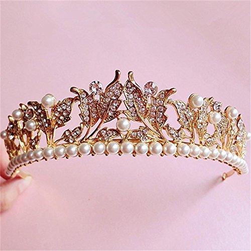 Sunshinesmile Vintage Wedding Bridal Crystal Pearl Gold Hair Accessories Headband Crown Tiara