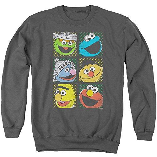 Sesame Street - Group Squares Adult Crewneck Sweatshirt