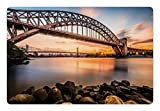 Ambesonne Landscape Pet Mat for Food and Water, Sunset Evening View Picture Hell Gate and Triboro Bridge Astoria Queens America, Rectangle Non-Slip Rubber Mat for Dogs and Cats, Brown Blue