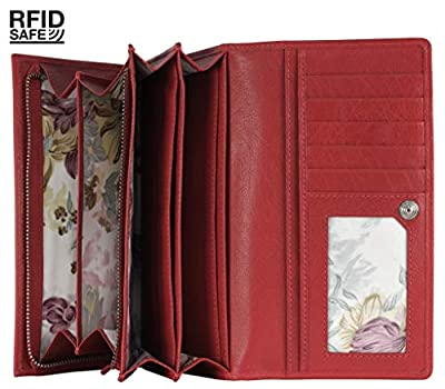 Mou Meraki Women RFID Blocking Real Leather Bifold Wallet-Clutch For Women-Shield Against Identity Theft