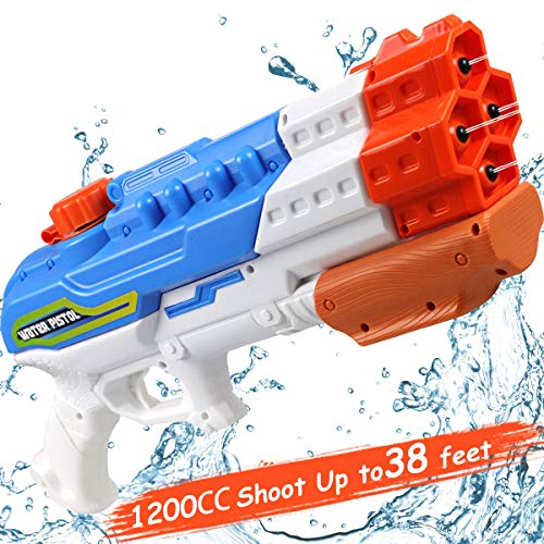 POKONBOY Super Soaker Water Gun, Squirt Guns Water Guns for Kids &Adults 4 Nozzles High Capacity 1200CC Squirt Gun 38ft Water Pistol Pool Toys Outdoor Swimming Pool Party Beach Water Fighting Toys