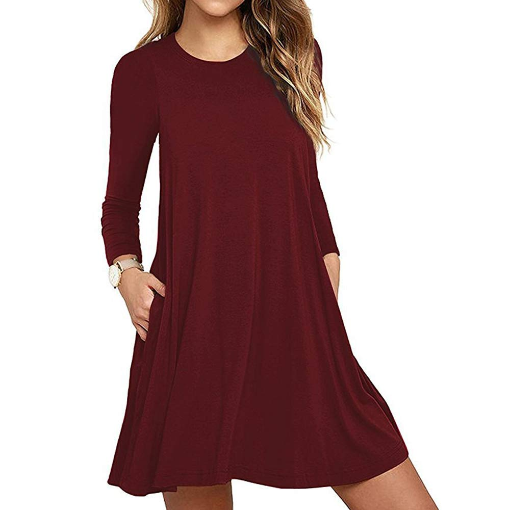 3bb989537c QIUYEJUO Women's Casual Swing Simple Dresses Pockets Sundresses Loose Shirt  Long Sleeve Dress Wine Red M