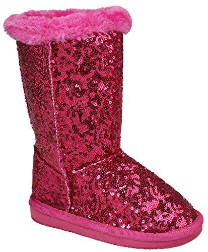 Girls Pink Boots (Kids Girls Candy/Bling Fuchsia Glitter Mesh Faux Fur Lined Shearling Mid Calf Winter Boots-11)