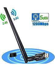 ANEWISH 1200Mbps Adaptador WiFi USB 3.0 Wireless USB Adapter con Antena 5dBi Tarjeta de Red 802.11ac Dual Band 2.4G/5.8G Dongle WiFi Receptor WiFi para PC Windows 10/8.1/8/7/Vista, Mac OS 10.9-10.13