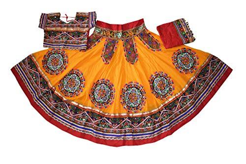 Nanda Women Cotton Kutchi Patchwork Lehenga Choli-Banjara Ghagra Choli-Gujarati Gamthi Chaniya Choli-Traditional Wear Golden Yellow Free Size