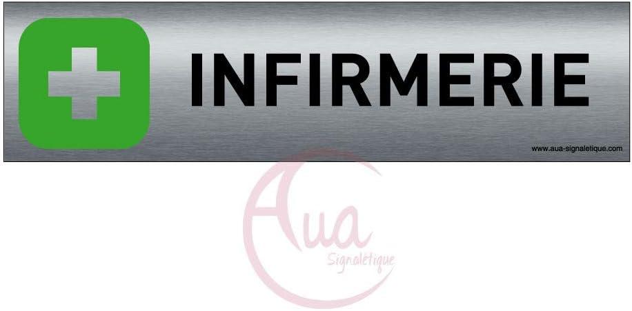 Impression UV directement sur laluminium Plaque de porte aluminium bross/é imprim/é -Dimensions 200 x 50 mm Pas de contre collage Poussez vertical Double face adh/ésif au dos