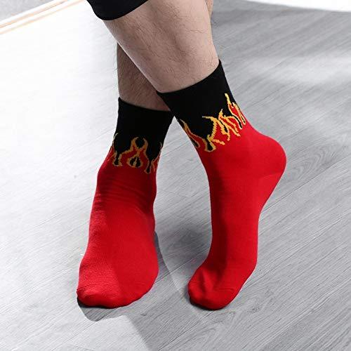 WillowswayW Fashion Women Men Flame Print Cotton Breathable Warm Middle Tube Socks by WillowswayW (Image #3)