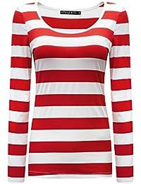 Women's Long Sleeve Striped T-Shirt Basic Scoop Neck Shirts