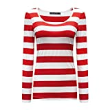OThread & Co. Women's Long Sleeve Striped T-Shirt Basic Scoop Neck Shirts (XX-Large, Red&White)
