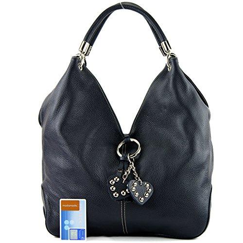 à main nur sac cuir 330A Sac Schwarzblau femme cuir Farbe sac sac Farbe à bandoulière Präzise sac italien E5nZSqRx