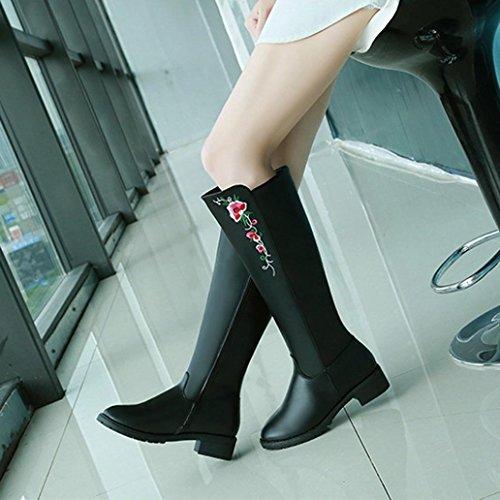 Elevin (tm) 2018 Femmes Hiver Mode Genou Haute Bottes Haute Tube Martin Botte Talons Plats Fleurs Chaussures Noir