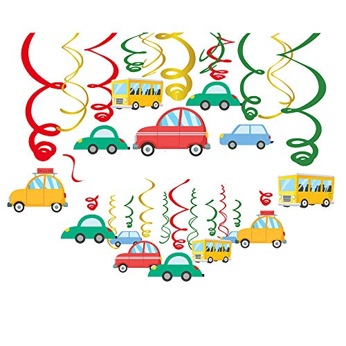 Transportation Party Theme Supplies Hanging Decorations - Cars Vehicle/Birthday Hanging Swirl Party Decorations 30Ct -