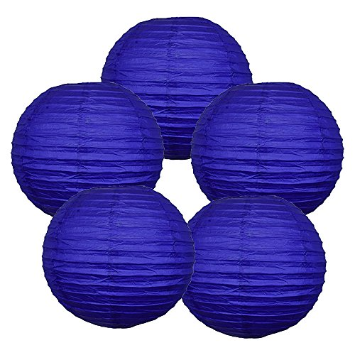 Just-Artifacts-20-Cobalt-Blue-Paper-Lanterns-Set-of-5-Click-for-more-ChineseJapanese-Paper-Lantern-Colors-Sizes