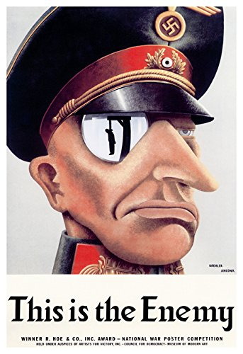 This Is the Enemy Poster, Nazi's Are the Enemy, World War 2 Propaganda Poster
