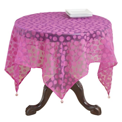 SARO LIFESTYLE 1893 Flocked Dots Square Table Topper, 54-
