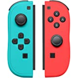 Joypad Controller Replacement for Switch,Wireless Switch Controller Support Wake-up Function with Strap(Blue and Neon…