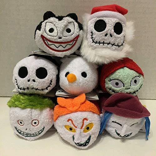 CHITOP 8pcs/lot! Tsum Plush Nightmare Before Christmas -Jack Skellington Sally Zero Dog Vampire Teddy Barrel Shock Lock Screen Cleaner ()