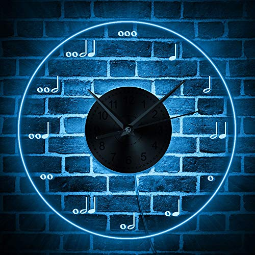 (GZGJ Musical Notation Wall Clock with LED Illumination Musical Notes Lighted Modern Wall Clock Treble Clef Neon Sign Music Room Decor)