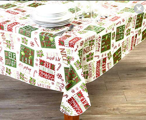 (Winter Wonder Lane Christmas Elf Typography PEVA Vinyl Tablecloth 52