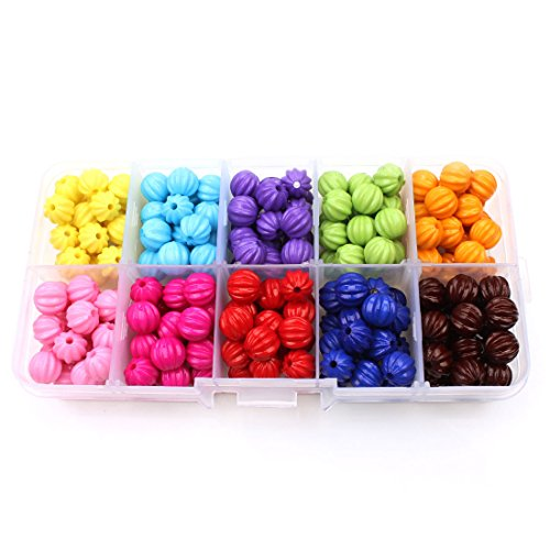 8 Mm Pumpkin - MEIBEADS 8mm 200pcs Candy Color Tiny Acrylic pumpkin Round Loose Beads + FREE Plastic Jewelry Container Box Mix Lot For Jewelry Making