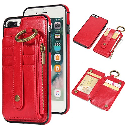 Strap Detachable Zipper (Wisecoco iPhone 8/7 Plus Wallet Case Card Holder,Magnetic Detachable Slim Shockproof Car Phone Cover,Credit Card Holder Strap Slot Zipper Pocket Apple iPhone 8 Plus/iPhone 7 Plus (Red))