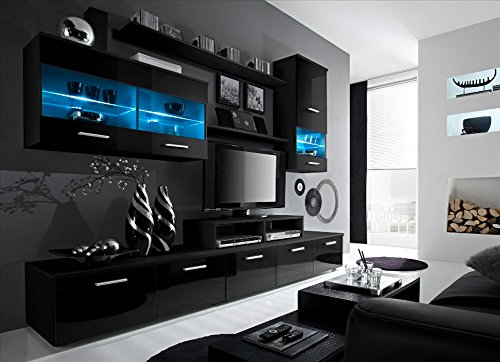 Paris Contemporary Design Wall Unit/Modern Entertainment Center/Unique Modern Design/with LED Lights/High Storage Capacity/Living Room Furniture/Tv Stand