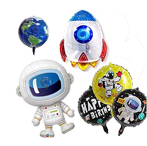 Astra Gourmet 8 Pack Outer Space Balloons | Foil Mylar Happy Birthday Party Balloons with Space Ship, Astronaut and Solar System Planets Theme Foil -