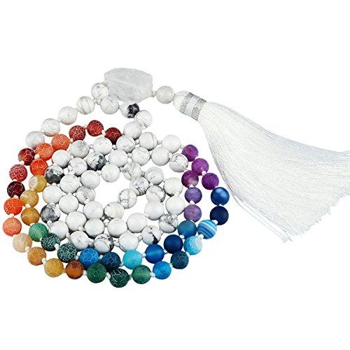 SUNYIK White Howlite Turquoise 7 Chakra Matte Agate Bracelet,Tibetan Buddhist Wrapped Stone Necklace Chakra Stone Strand Necklaces