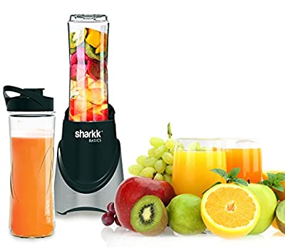 Sharkk Basics Smoothie Blender 300W Mini Personal Blender with Two (2) 20oz (BPA Free) Sport Bottles Stainless Steel Blades and Automatic Safety Function