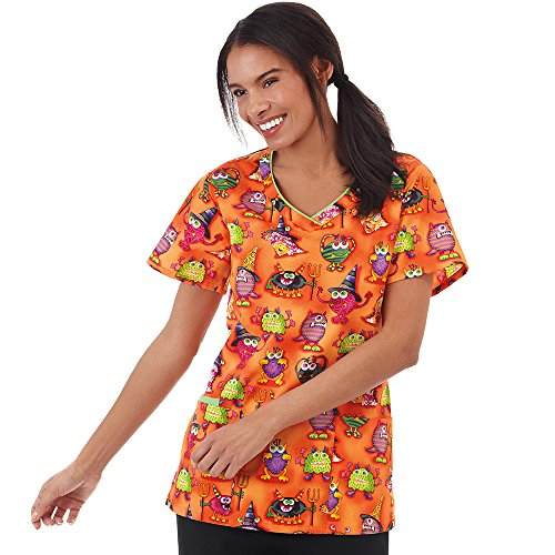 Bio Women's V-Neck Halloween Print Scrub Top XX-Large (Halloween Print Scrub Tops)