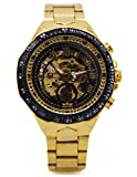 AGENTX Men's Skeleton Automatic Mechanical Luxury Stainless Steel Gold Wrist Watch
