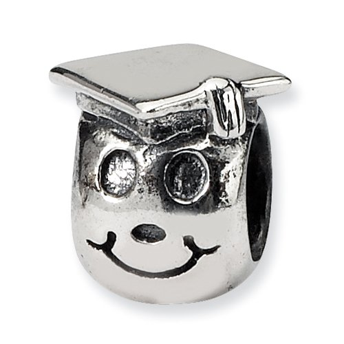 Sterling Silver Reflections Kids Happy Graduate Bead (Graduate Diamond Girl Charm)