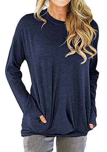 RJXDLT Women's Casual Long Sleeve Round Neck Sweatshirt Loose Soft Pockets Pullover Blouse Tops Shirt Tunics Navy Blue M