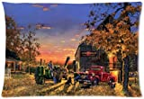 Decorative Square Throw Pillow Cover Cushion Case, Novely old farm tractor antique Print 30 by 20-Inch Pillow Case Twin-sides