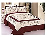 3pcs High Quality Fully Quilted Embroidery Quilts Bedspread Bed Coverlets Cover Set , Queen King (Beige/Burgundy)