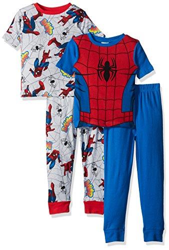 Marvel Boys' Big Boys' Spiderman 4-Piece Cotton Pajama Set, Blue/Gray, 10